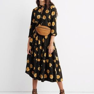 Madewell Button-Front Tier Dress in Fall Flowers